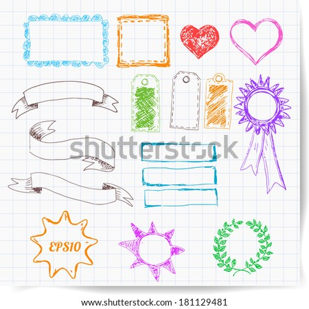 Set of colored design elements: borders, banners, stars etc. Vector illustration.  - stock vector