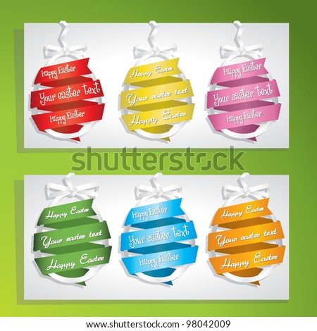 set of colored easter eggs with your text - stock vector