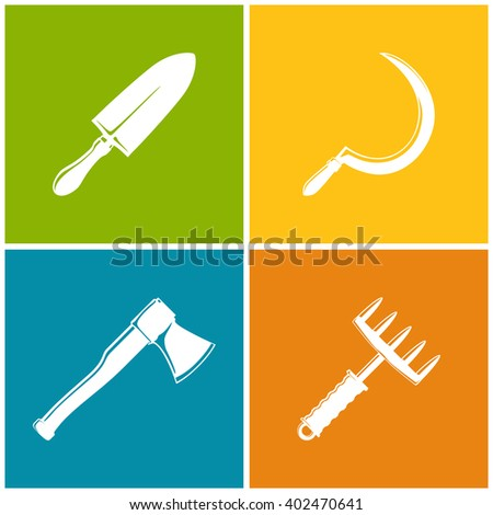 Set of Colored Farming  Icons , Garden and Landscaping Tools , Icon Trowel , Icon Sickle , Icon Axe , Icon Hand Rake , Garden Equipment , Agricultural Tool  , Vector Illustration - stock vector