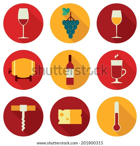 Set of colored flat design round vector icons related to wine: red wine glass, grapes, white white glass, barrel, wine bottle, mulled wine glass, corkscrew, cheese, thermometer. Isolated on white - stock vector