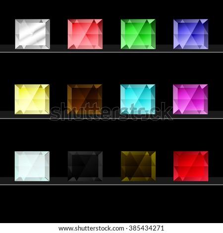 Set of colored gem stones. Diamonds of different colors on black background. Vector illustration. gems,  gemstones,  stone,  diamond,  jewels,  crystal,  precious stones,  ruby,  jewellery  - stock vector