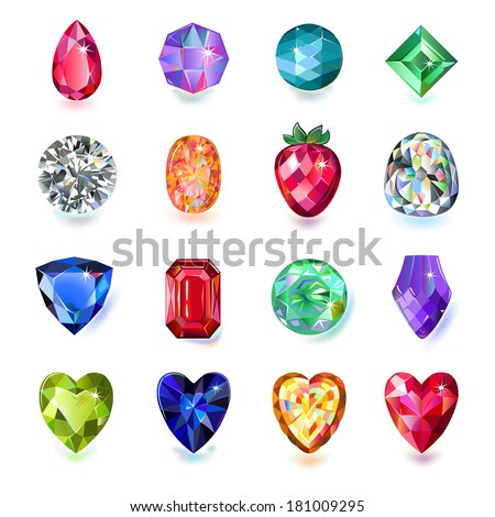 Set of colored gems isolated on white background. EPS 8 vector illustration. - stock vector