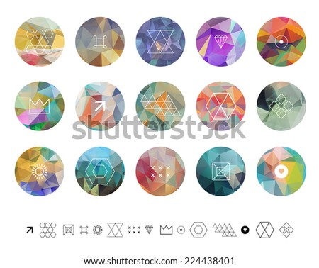 Set of colored geometric crystal circles in polygon style with geometric shapes. Geometric hipster retro background and logotype. - stock vector