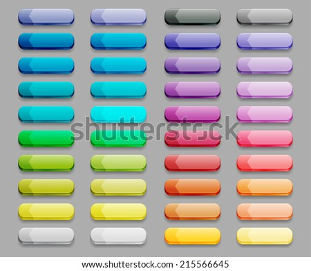 set of colored glass buttons - stock vector