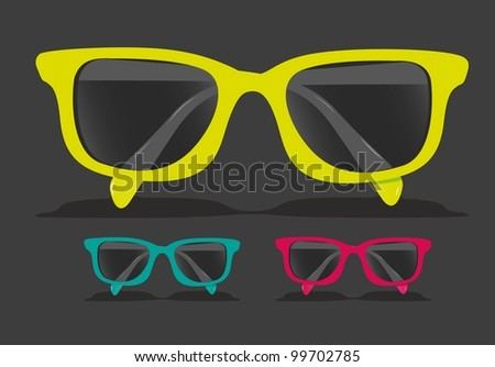 set of colored glasses, Vector Illustration - stock vector