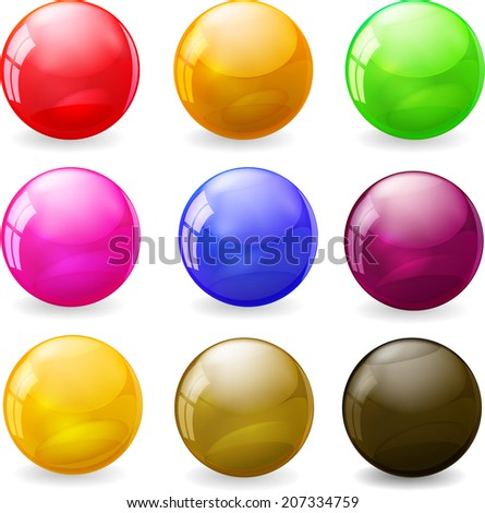 Set of colored glossy spheres - stock vector