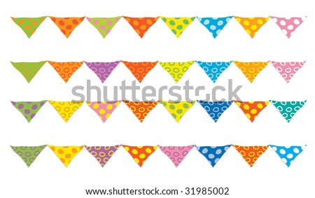 Set of colored holiday flags for decoration. Vector-Illustration