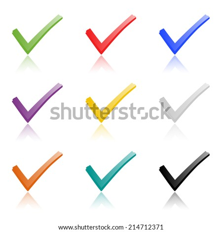 Set of colored hooks with shadow - stock vector