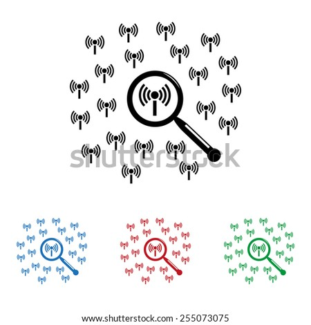 Set of colored icons. Black, blue, red, green.  Search wi-fi network , icon, vector illustration. Flat design style - stock vector