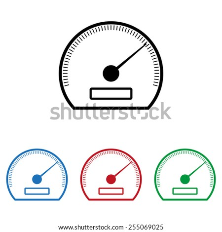 Set of colored icons. Black, blue, red, green.  speedometer. icon, vector illustration. Flat design style  - stock vector