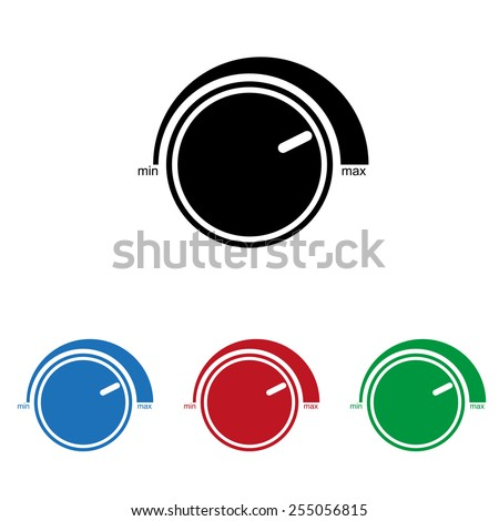 Set of colored icons. Black, blue, red, green.  Volume control icon, vector illustration, EPS 10 - stock vector
