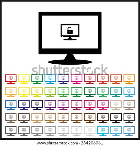 Set of colored icons. Computer access is open. icon. vector design - stock vector