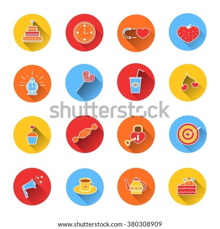 Set of colored icons dessert, candy and cake for Valentine's day. Collection of colorful vector icons in flat style. Elements of design for web design, mobile applications, romantic design products - stock vector
