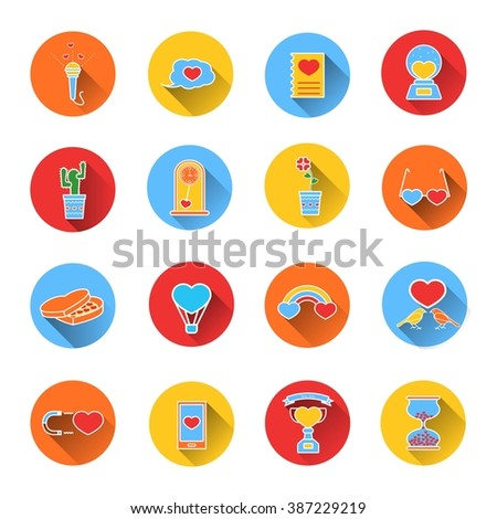 Set of colored icons for Valentine's day. Collection of colorful vector icons in flat style. Elements of design for web design, mobile applications, romantic design products - stock vector