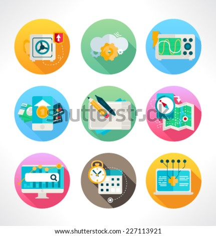 Set of colored icons for website and mobile application. Flat design. Vector. Editable. - stock vector