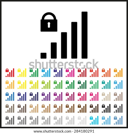 Set of colored icons. signal strength indicator, closed access. icon. vector design - stock vector