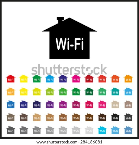 Set of colored icons. The house is surrounded by a network wi-fi. icon. vector design