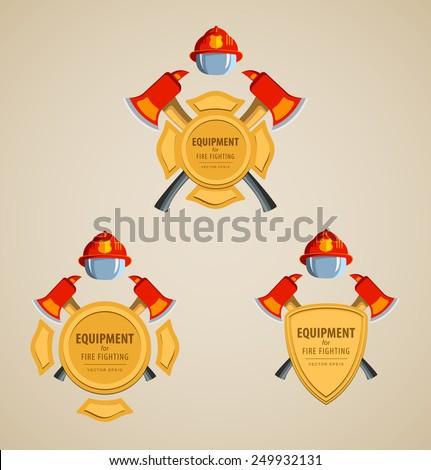 Set of colored icons vector illustration. Firefighter Emblem or volunteer. Maltese cross, shield, ax, fireman helmet. Element for the magnet on the fridge or print for a T-shirt. Red, yellow, brown. - stock vector