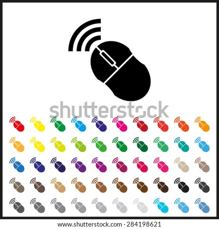Set Colored Icons Wireless Mouse Icon Stock Vector 284198621 ...