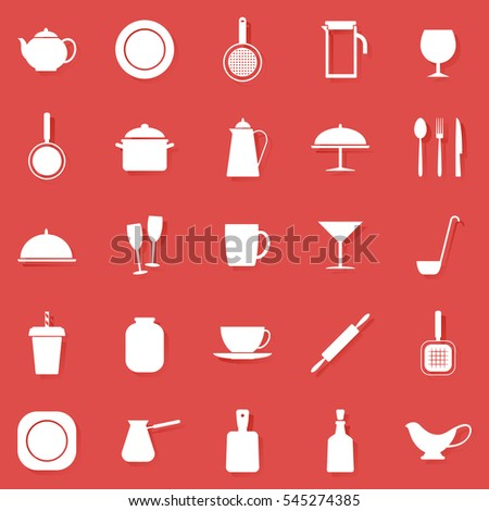Set of colored icons with kitchen utensils, vector illustration.