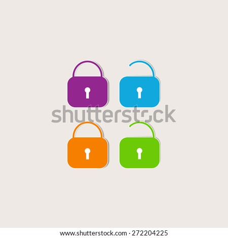 Set of colored locks. Open, close. Lock, unlock - stock vector