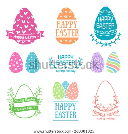 Set of colored logo templates, icons, labels, signs for a happy Easter. Silhouette egg with simple patterns. Pastel colors. Floral elements. Vector. - stock vector