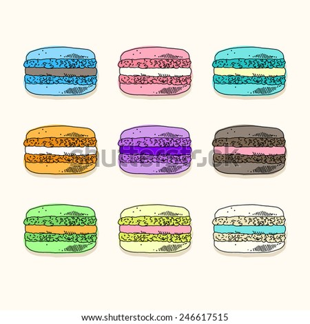 Set of colored macaroons - stock vector