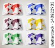 Set of colored Maps of the World. Vector illustration 10eps - stock photo