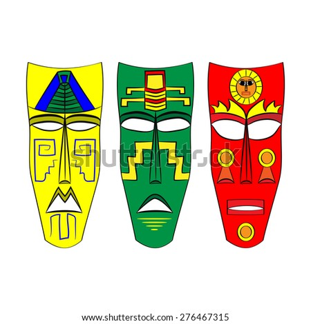 Set of colored masks of the Aztecs and the Maya of ancient Mexico - stock vector