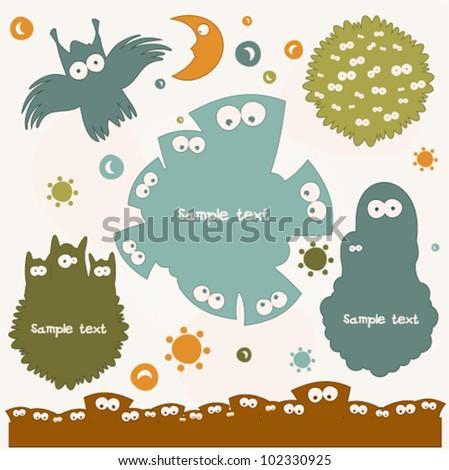 Set of Colored Monsters - stock vector