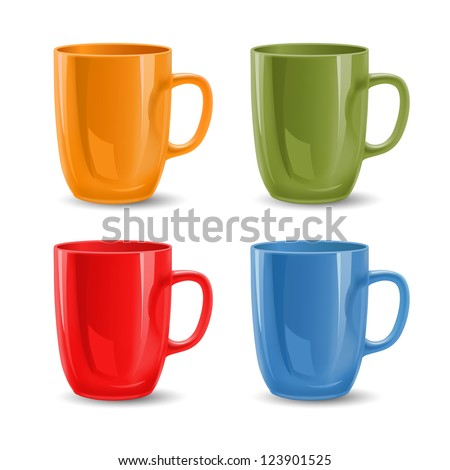Set of colored mugs, vector illustration - stock vector