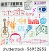 Set of colored music hand-drawn icons on squared paper - stock vector