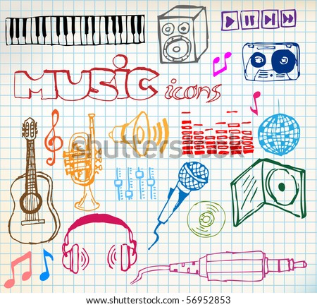 Set of colored music hand-drawn icons on squared paper
