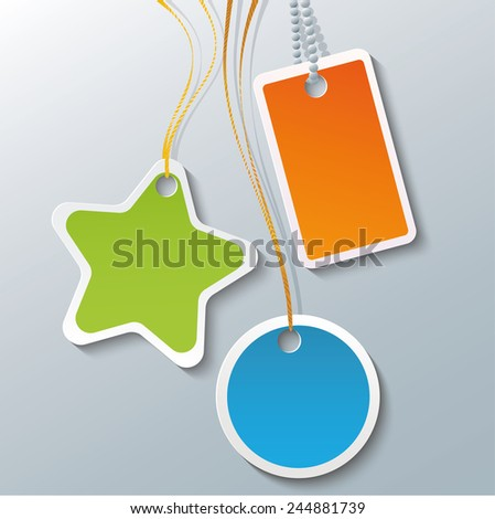 set of colored name tags or price tags - stock vector