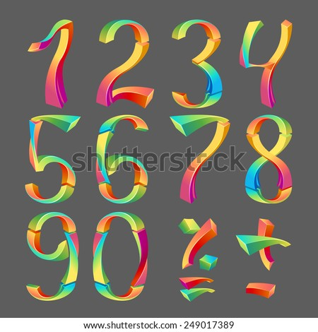 Set of colored numbers 3D- Arabic numerals (0, 1, 2, 3, 4, 5, 6, 7, 8, 9), vector illustration. - stock vector