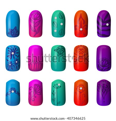 set of colored painted nails. manicure. nail polish. - stock vector