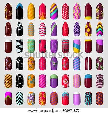 set of colored painted nails. manicure. nail polish. isolated on a white background - stock vector
