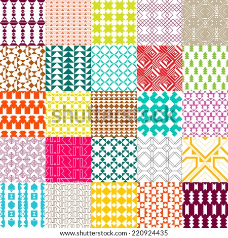 Set of 25 colored patterns