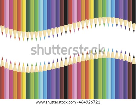 Set of colored pencils on white background. An empty frame, you can insert your text. Seamless vector illustration