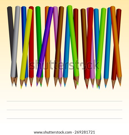 Set of colored pencils with lines for text. - stock vector