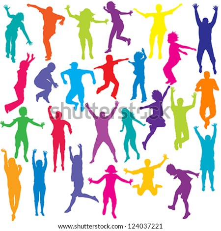 Set of colored people and children silhouettes jumping - stock vector