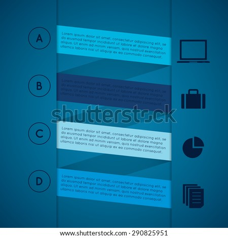 set of colored rectangle infographic templates with A B C D and icon. 