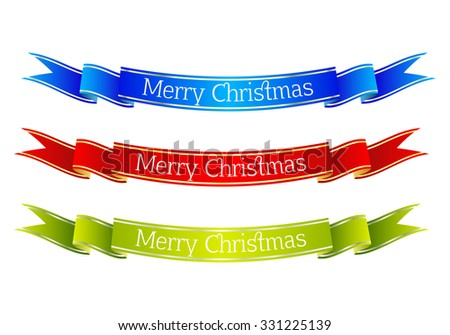 Set of colored ribbon banners. Christmas collection. Vector illustration. - stock vector