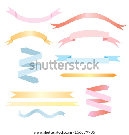 set of colored ribbon labels on white background