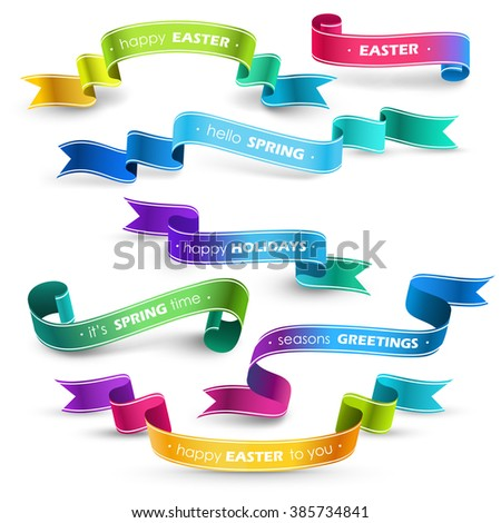 Set of colored ribbons. Vector - stock vector
