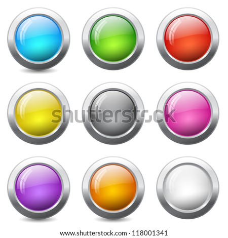 Set of colored round buttons with wavy reflections - stock vector