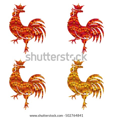 Set of colored silhouettes of roosters isolated on white background. Bird with ornament. Chinese Traditional Zodiac. New Year Symbol. Crowing Cock. Red, Gold, orange Colors. Vector illustration