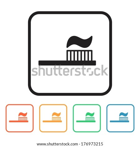 Set of colored simple web icons (toothbrush and toothpaste, dental hygiene), vector