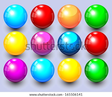 Set of colored spheres  - stock vector