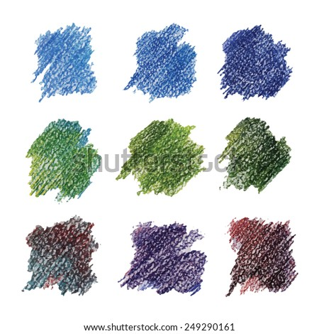 Set of colored spots in cold tones. Drawn with colored pencils. - stock vector